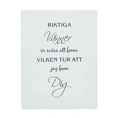 """Bild av Trätavla med text - """"Riktiga vänner..."""" - à 59 kr"""