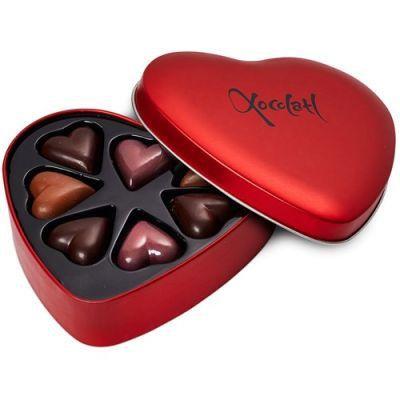 Bild av Hjärtformad chokladask - Praliner, Röd