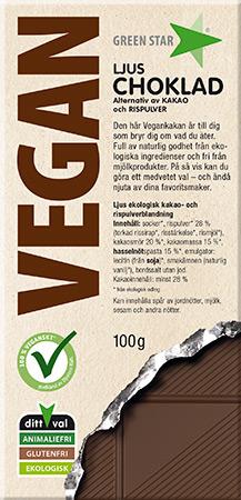 Bild av Green Star Vegan Ljus Choklad 100g