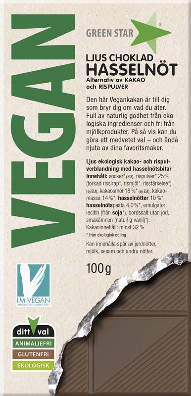 Bild av Green Star Vegan Ljus choklad Hasselnöt 100g
