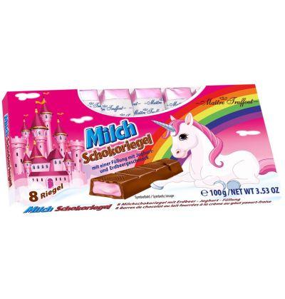 Bild av Unicorn mjölkchoklad med jordgubbs-yogurt fyllning 100g