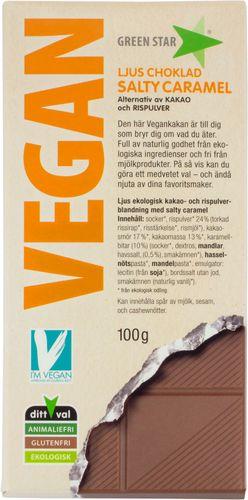 Bild av Green Star Vegan Ljus Choklad Salty Caramel 100g