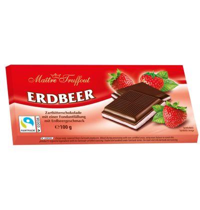 Bild av Maitre Truffout Mörk choklad m. Jordgubbskräm 100g