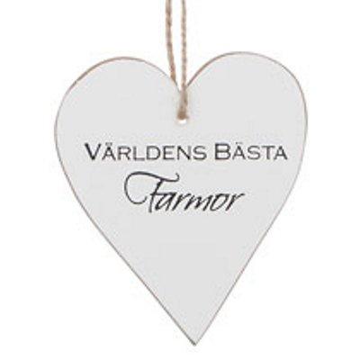 """Bild av Trähjärta med text - """"Världens bästa Farmor"""" - à 25 kr"""