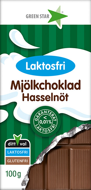 Bild av Green Star Mjölkchoklad Laktosfri Hasselnöt 100g