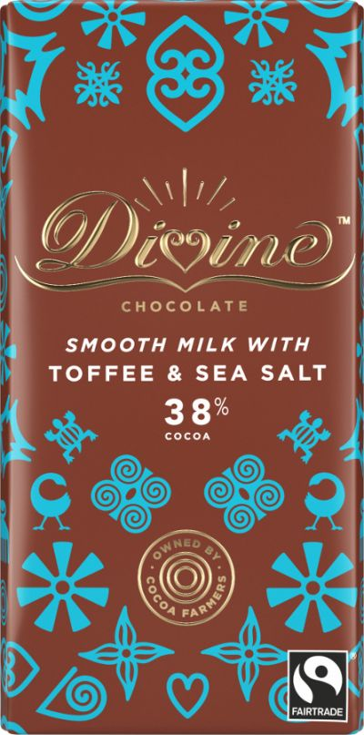 Bild av Divine Chocolate Milk Chocolate Toffee & Sea Salt 90g