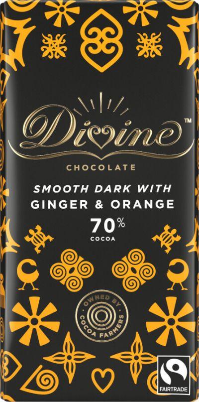 Bild av Divine Chocolate Dark Chocolate Ginger & Orange 90g