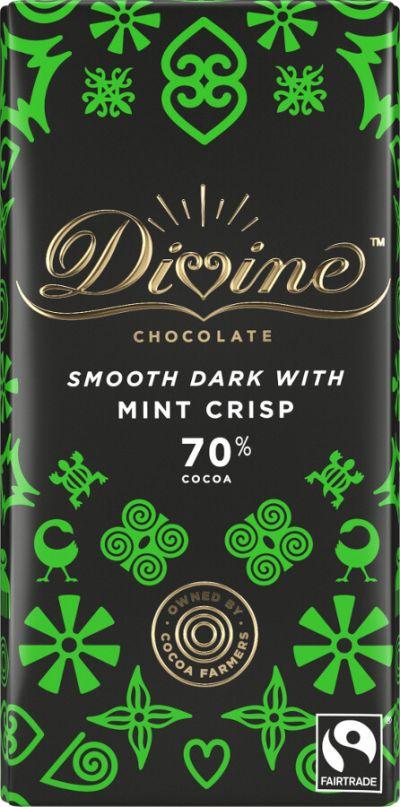Bild av Divine 70% Dark Chocolate with Mint Crisp 90g