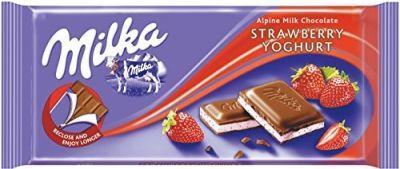 Bild av Milka Strawberry Milk Chocolate Bar 100g