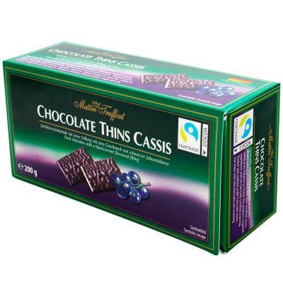 Bild av Maitre Truffout Chocolate Thins Cassis 200g